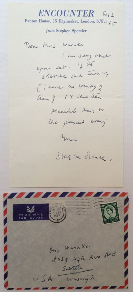 "Autographed Letter Signed on ""Encounter"" stationery. Stephen SPENDER, 1909 - 1995."