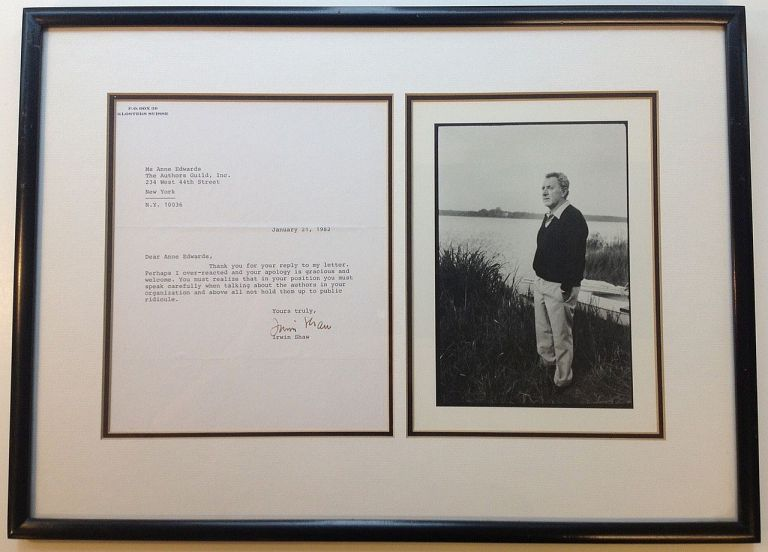 Framed Typed Letter Signed to another writer. Irwin SHAW, 1913 - 1984.