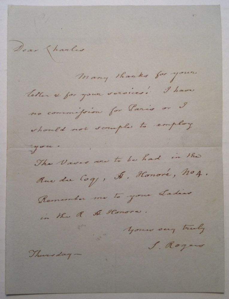 "Autographed Letter Signed ""S. Rogers"" by the English Poet. Samuel ROGERS, 1763 - 1855."