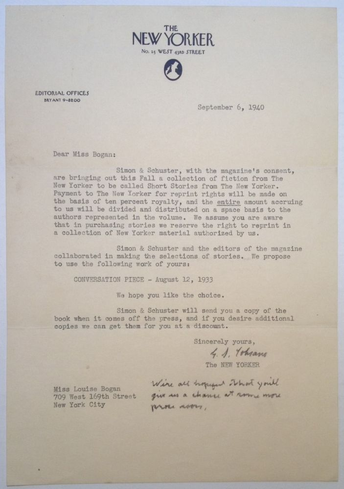 "Typed Letter Signed on ""The New Yorker"" Letterhead. Gus LOBRANO."