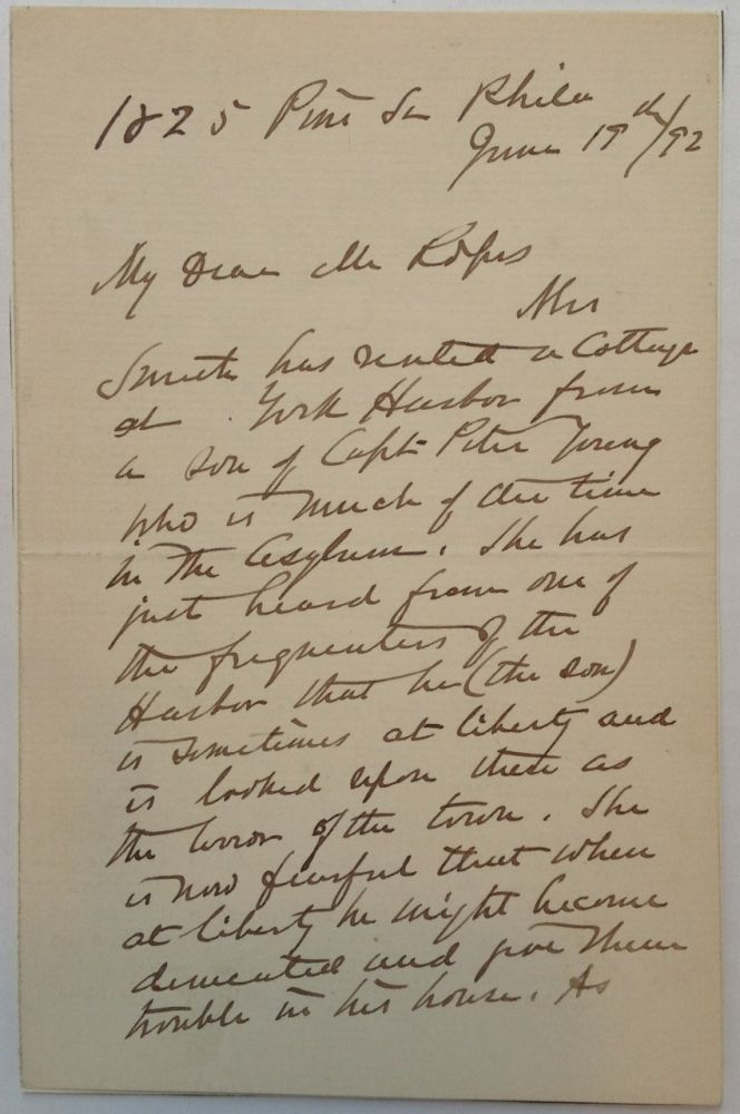 Autographed Letter Signed to a Civil War historian. William F. SMITH, 1824 - 1903.