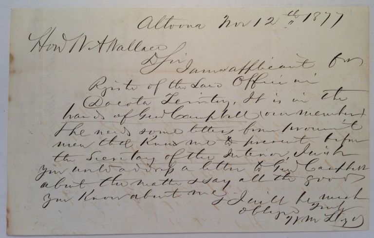 Autographed Letter Signed to U.S. Senator William Wallace. William LLOYD, 1805 - 1879.