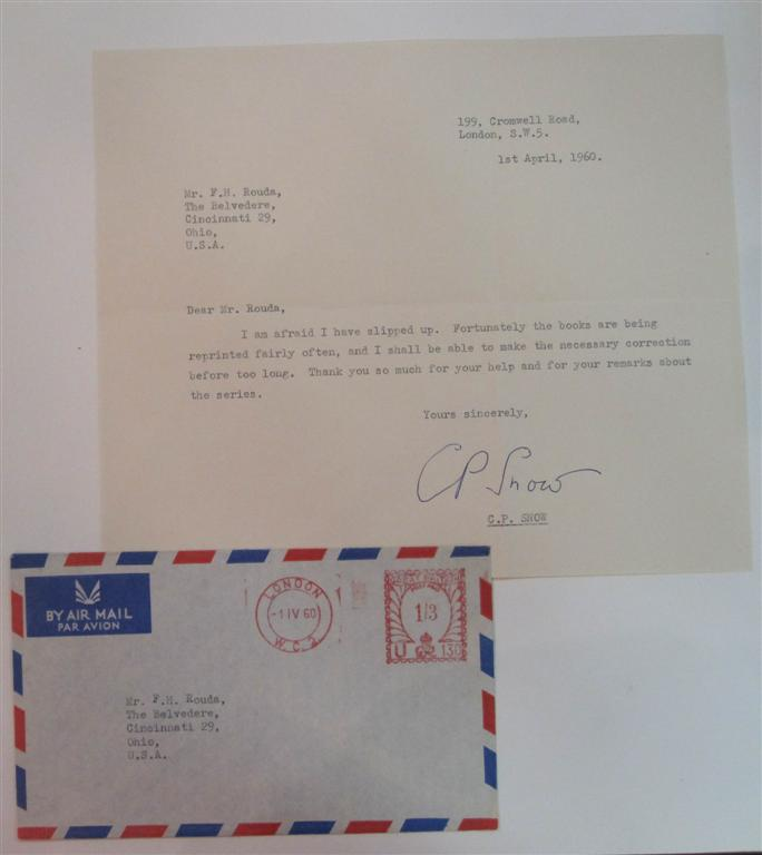 Typed Letter Signed. C. P. SNOW, 1905 - 1980.