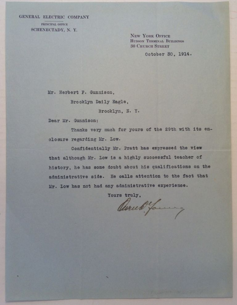 Typed Letter Signed undermining a political campaign. Owen D. YOUNG, 1874 - 1962.