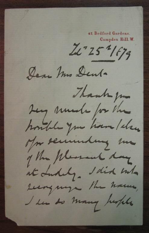 Autographed Letter Signed on personal stationery. Andrew MACCALLUM.