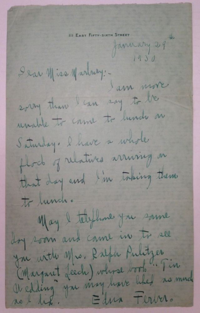 Autographed Letter Signed to theatrical agent Elisabeth Marbury. Edna FERBER, 1885 - 1968.