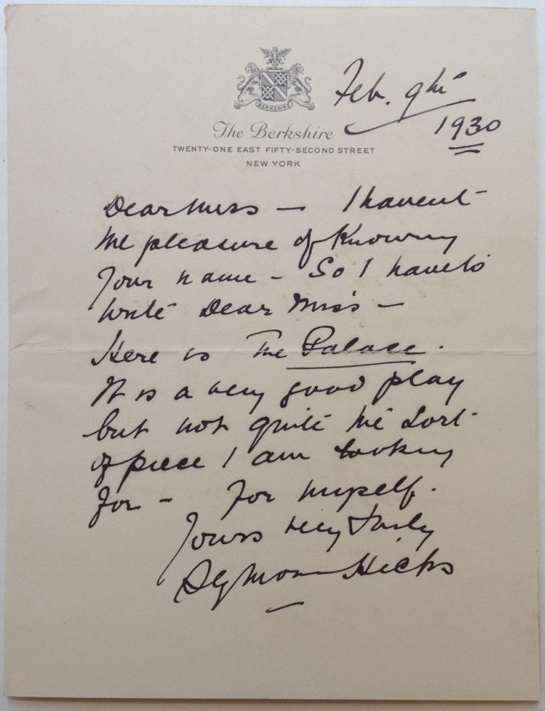 Autographed Letter Signed to an Agent. Seymour HICKS, Sir, 1871 - 1949.