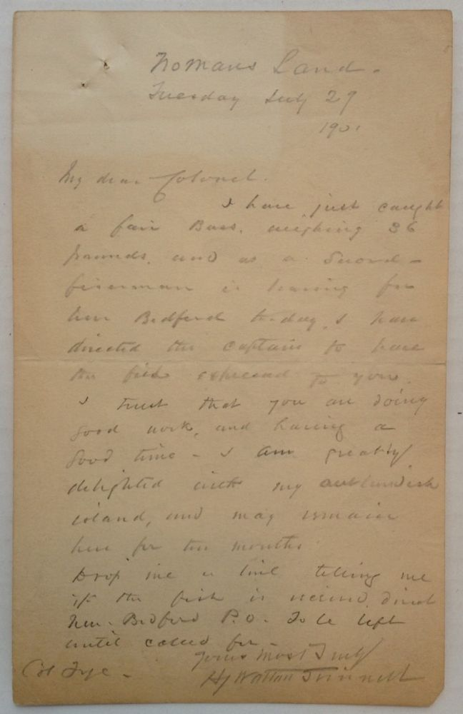 Autographed Letter Signed. Henry Walton GRINNELL, Admiral, 1843 - 1920.