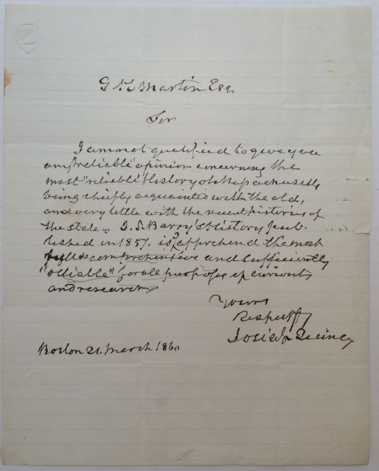 Autographed Letter Signed about Massachusetts history. Josiah QUINCY, Jr., 1802 - 1882.