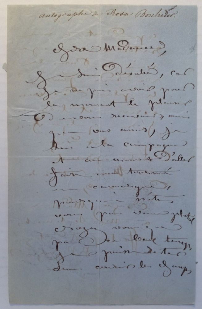 Autographed Letter Signed in French. Rosa BONHEUR, 1822 - 1899.