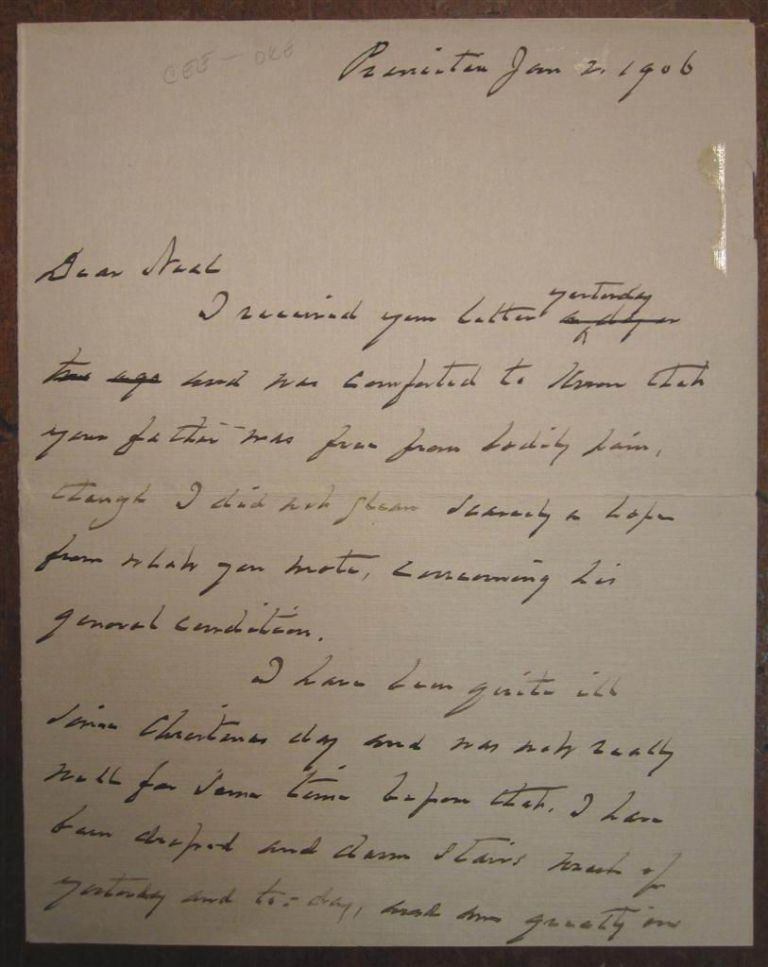 Autographed Letter Signed about his terminal cancer. Grover CLEVELAND, 1837 - 1908.