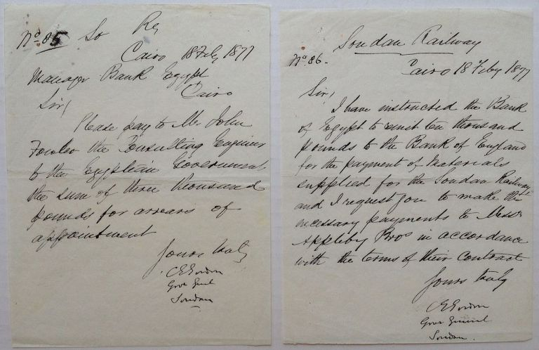 """Two Autographed Letters Signed and a Telegraph. Charles G. GORDON, """"Chinese"""", 1833 - 1885."""