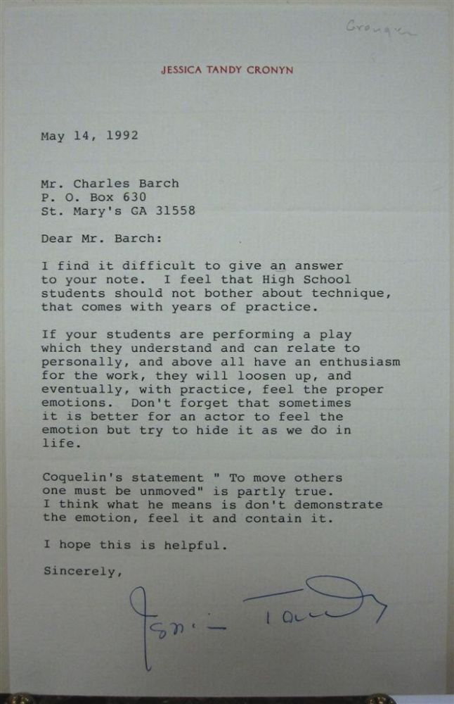 Typed Letter Signed on personal stationery. Jessica TANDY, 1909 - 1994.