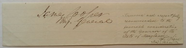 Signatures of both Union Generals with rank. James COOPER, Franz SIGEL.