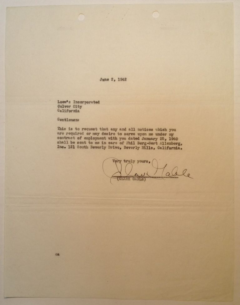 Typed Letter Signed to Loew's Incorporated. Clark GABLE, 1901 - 1960.