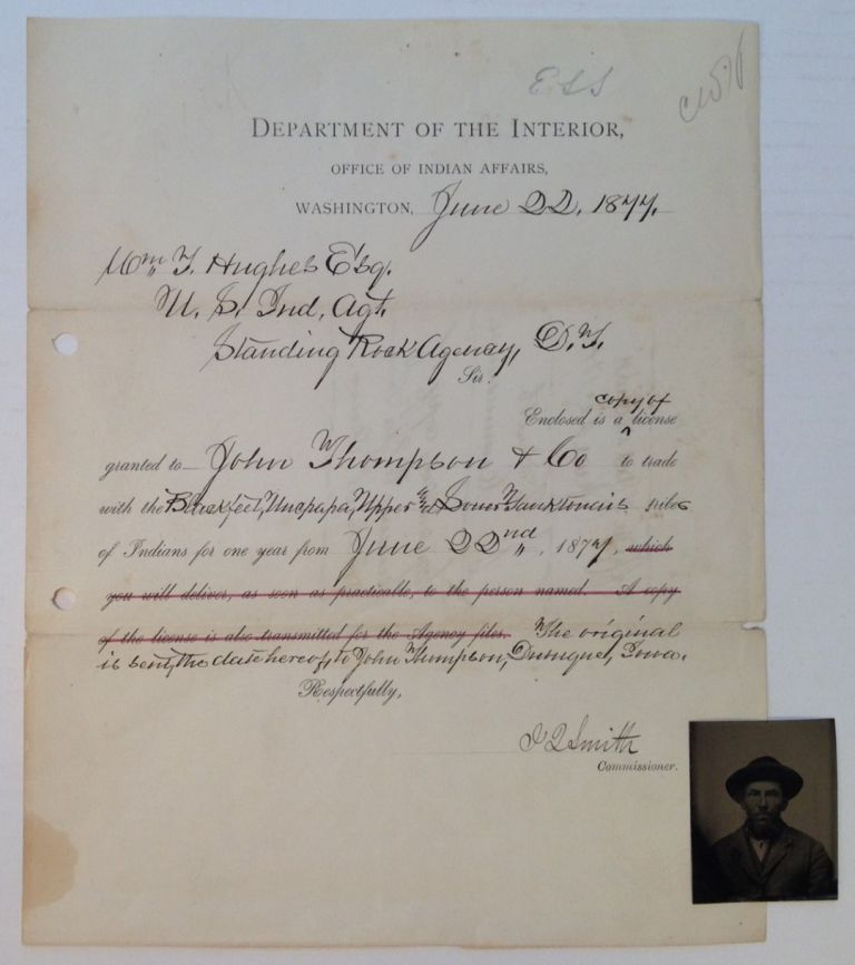 Document Signed on Department of the Interior letterhead. INDIAN AFFAIRS -- Department of, John Q. Smith.