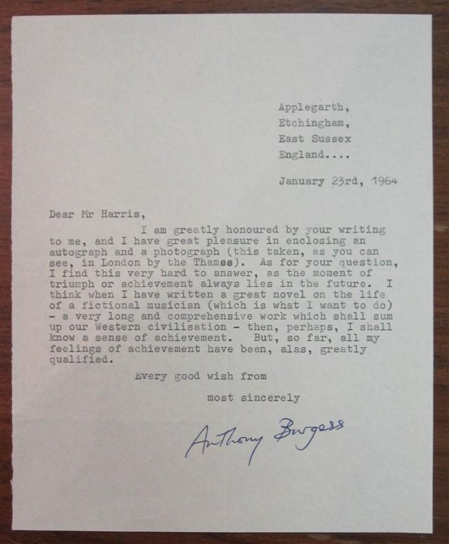 Typed Letter Signed. Anthony BURGESS, 1917 - 1993.