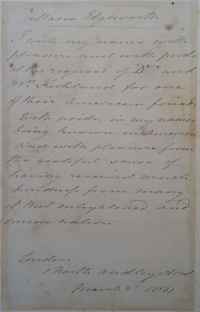 Autographed Letter Signed with an engraved portrait. Maria EDGEWORTH, 1768 - 1849.