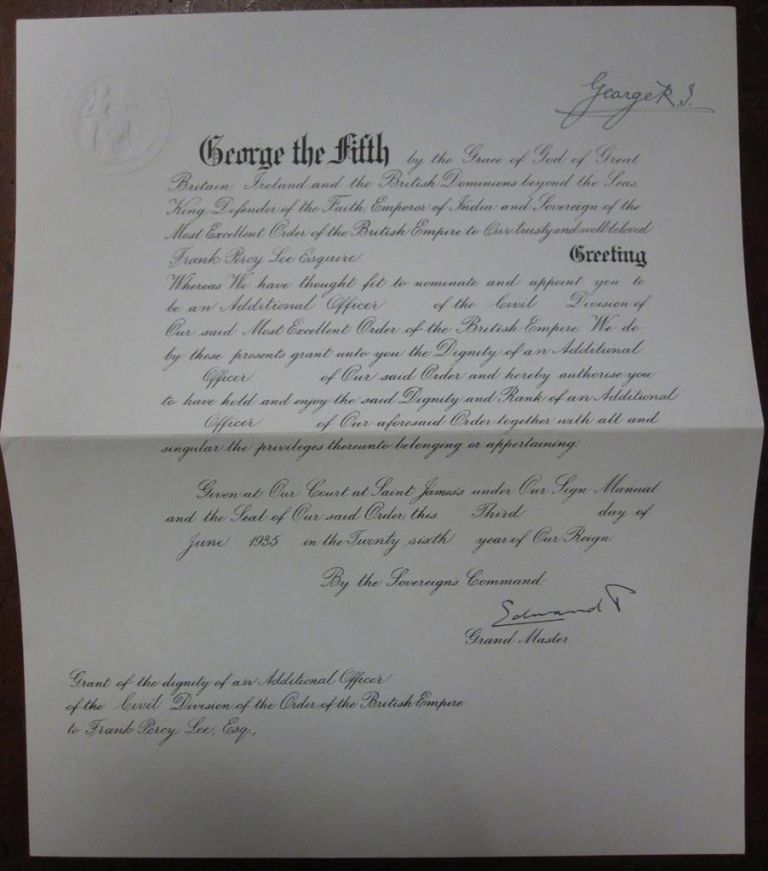 Document Signed by Two Kings. GEORGE V., EDWARD VII.