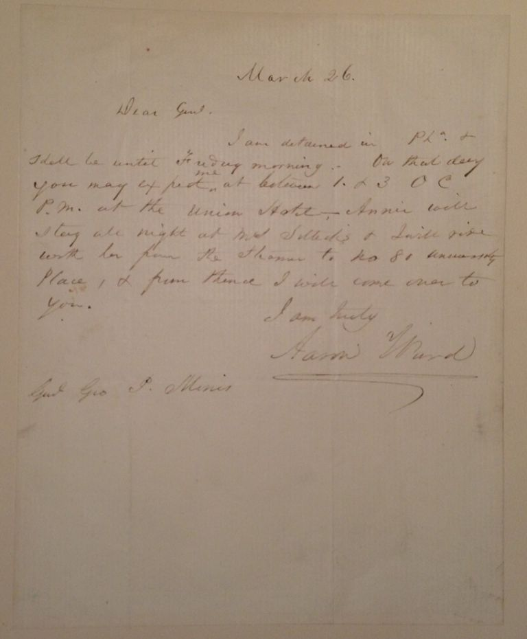 Autographed Letter Signed to an Army General. Aaron Montgomery WARD, 1843 - 1913.