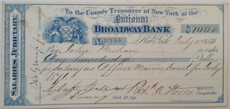 Vintage Signed Salary Check. HALL, Abraham Oakey, 1826 - 1898.