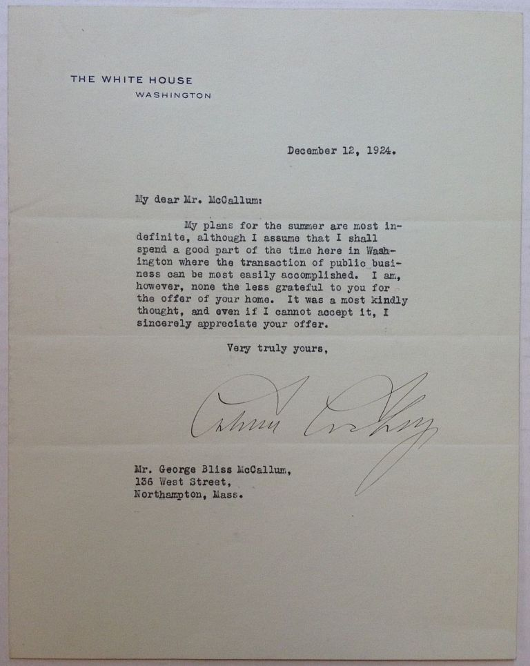 Typed Letter Signed on White House letterhead. Calvin COOLIDGE, 1872 - 1933.