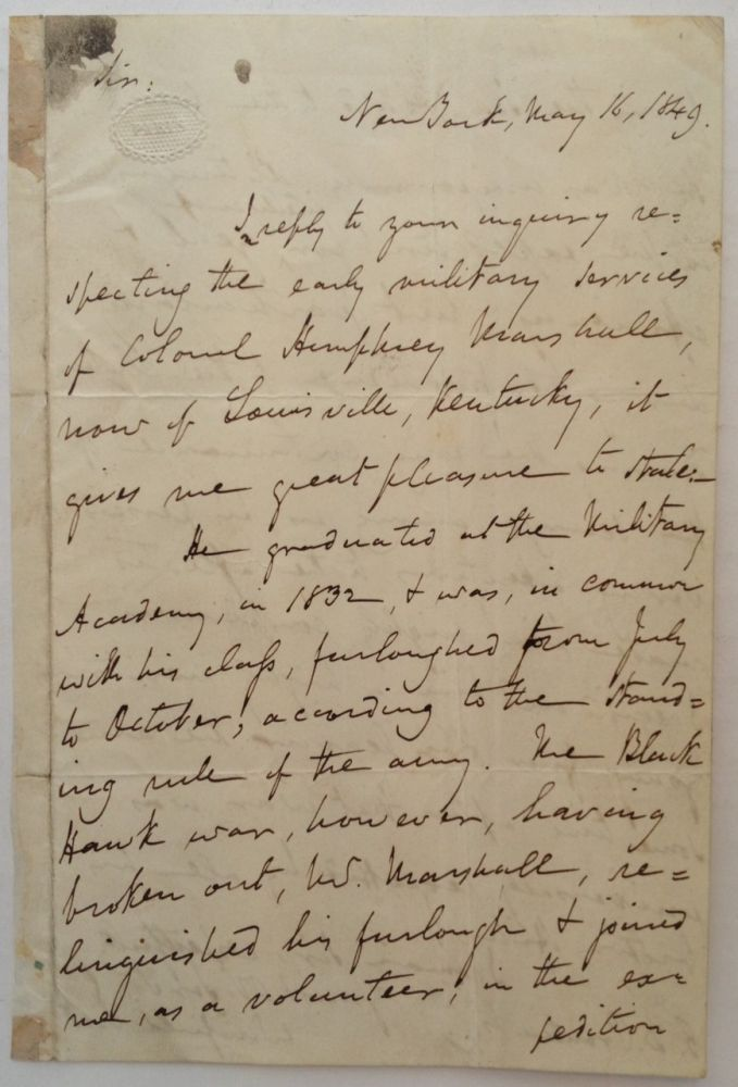 Autographed Letter Signed about a colleague. Winfield SCOTT, 1786 - 1866.