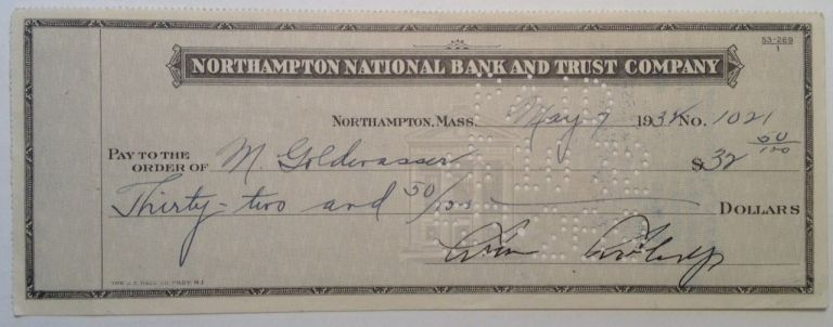 Signed Canceled Check. Calvin COOLIDGE, 1872 - 1933.