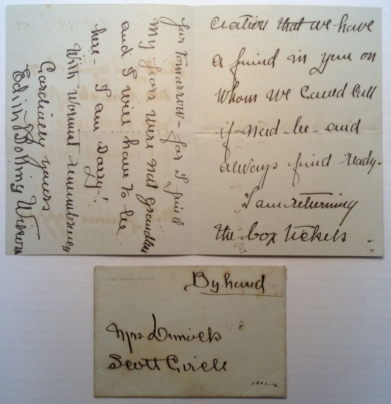 Autographed Letter Signed on White House stationery. Edith Boling WILSON, 1872 - 1961.