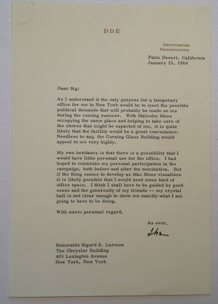 Typed Letter Signed. Dwight D. EISENHOWER.