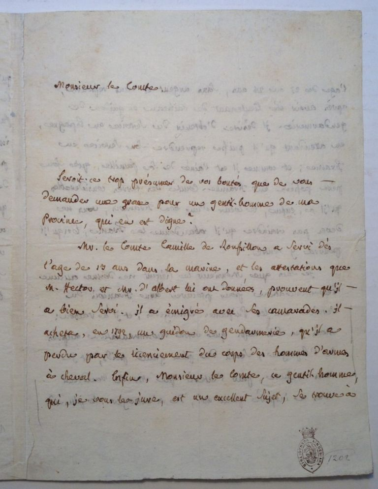 Autographed Letter Signed in French. Jean Joseph Antoine COURVOISIER, 1775 - 1835.