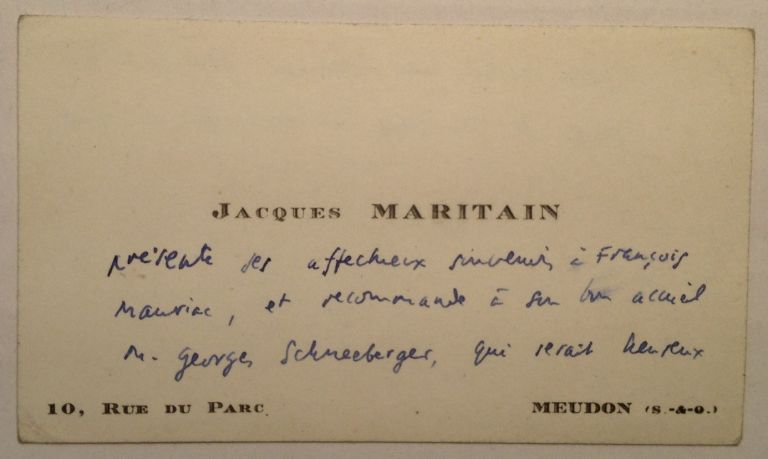 Autographed Note in French on a Personal Card. Jacques MARITAIN, 1882 - 1973.