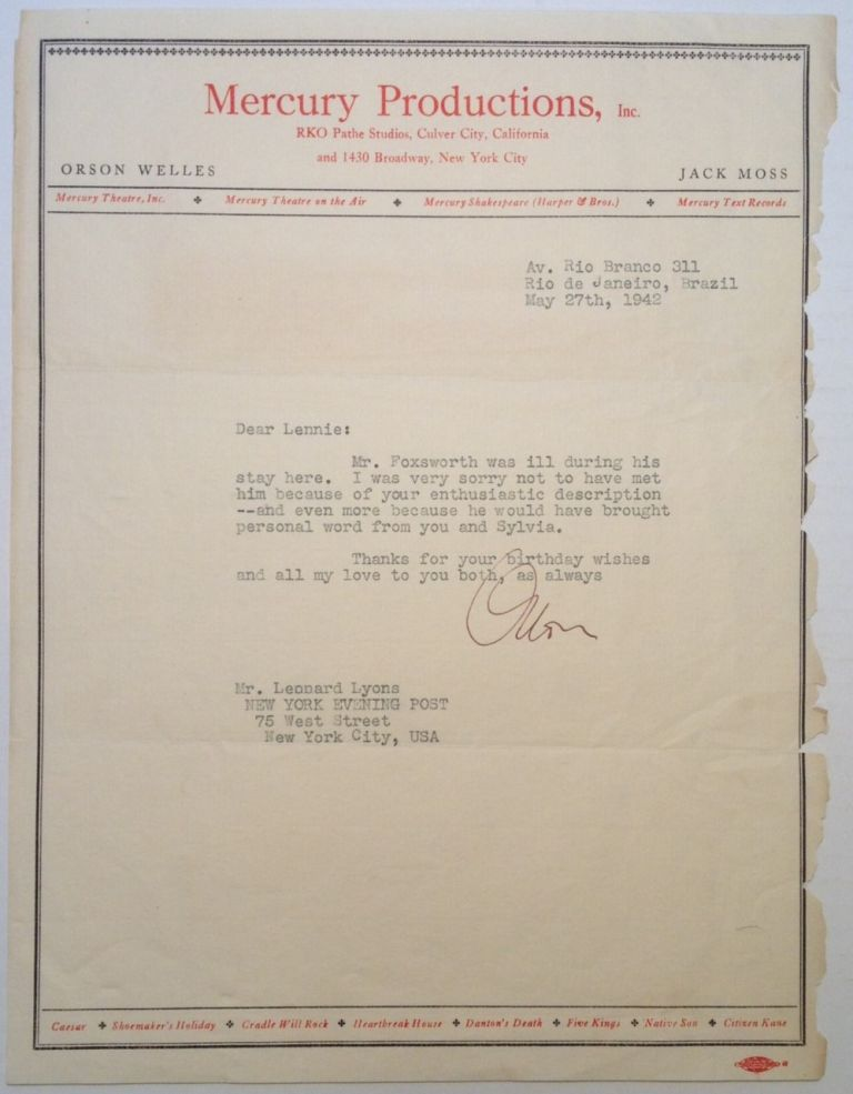 """Typed Letter Signed on """"Mercury Productions"""" letterhead. Orson WELLES, 1915 - 1985."""