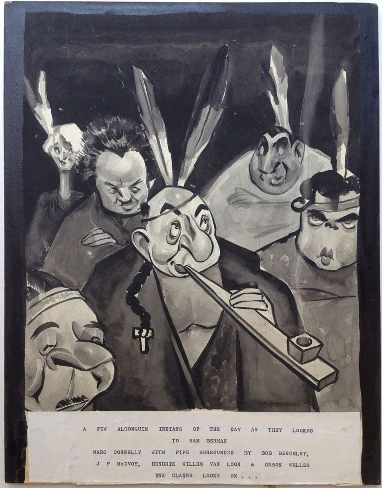Original Artwork depicting members of The Algonquin Round Table. Sam BERMAN, 1906 - 1995.