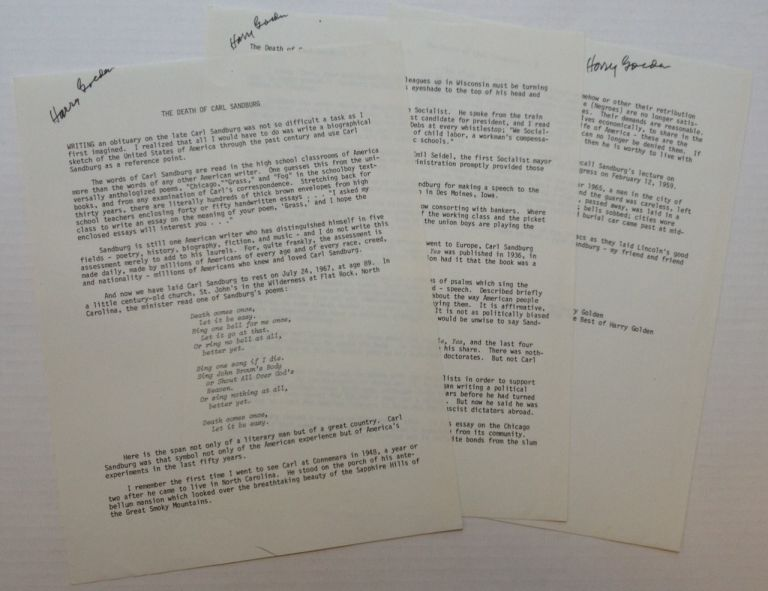 Typescript Signed Three Times. Harry Lewis GOLDEN, 1902 - 1981.