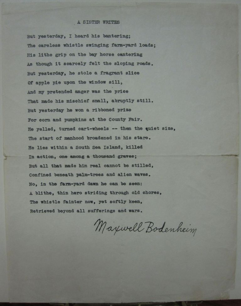Typed Poem Signed in Full. Maxwell BODENHEIM.