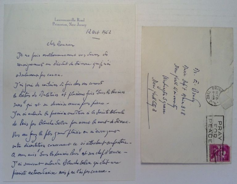 Autographed Letter Signed in French. Robert CASADESUS, 1899 - 1972.