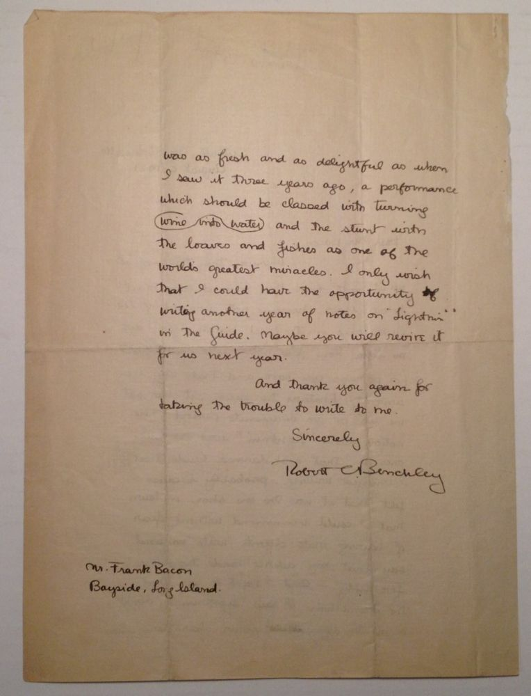 Autographed Letter Signed to actor Frank Bacon. Robert BENCHLEY, 1889 - 1945.