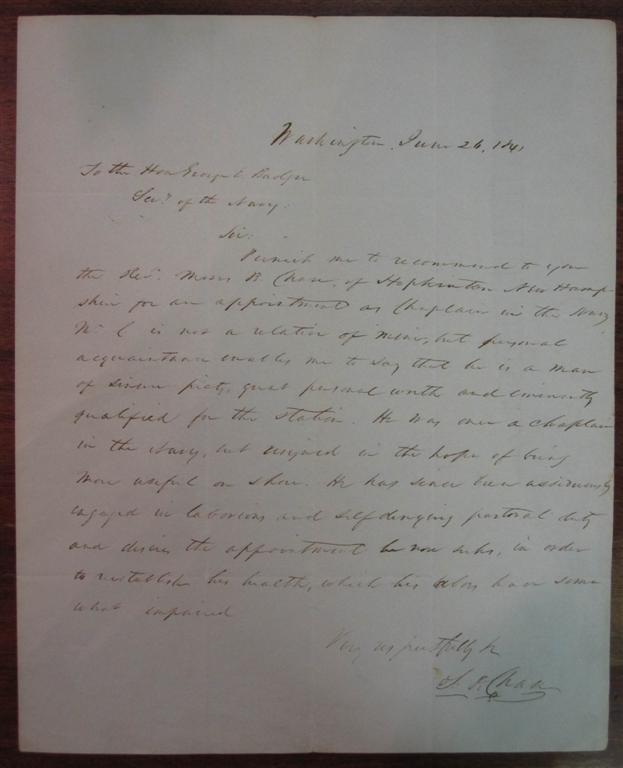 Autographed Letter Signed. Salmon P. CHASE, 1808 - 1873.