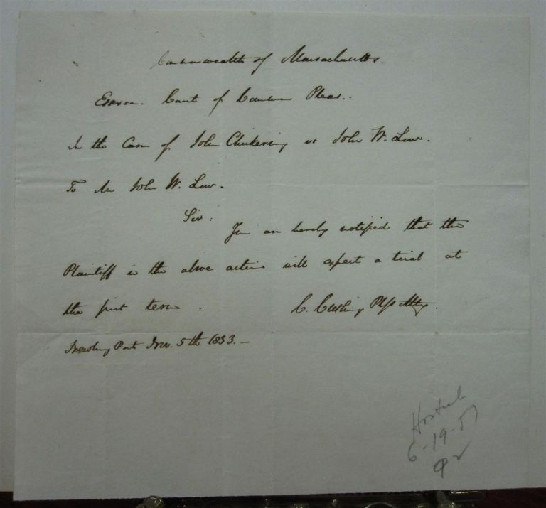 Autographed Letter Signed. Caleb CUSHING, 1800 - 1879.