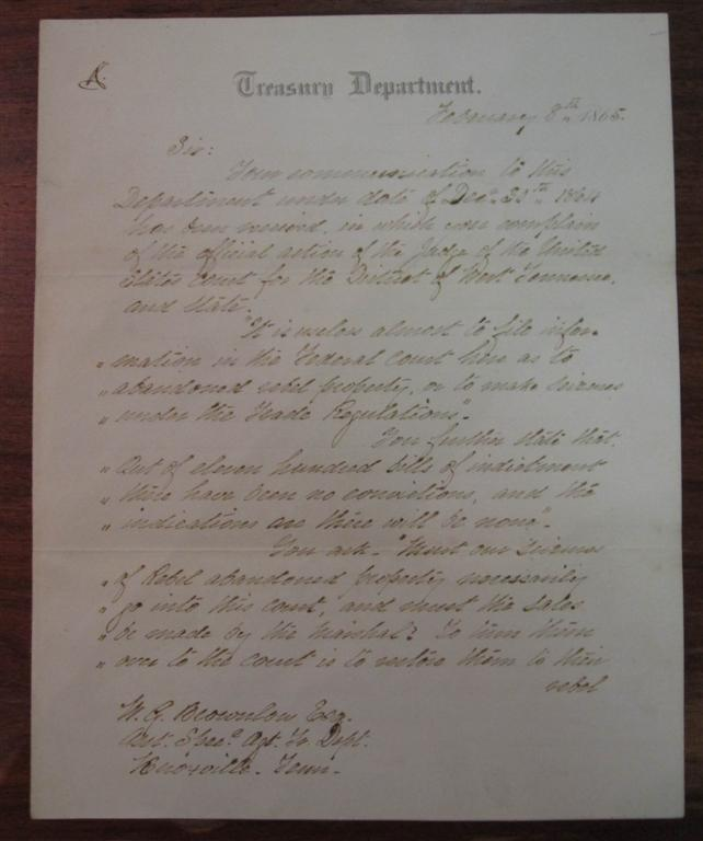 "Autographed Letter Signed on ""Treasury Department"" letterhead. George HARRINGTON."