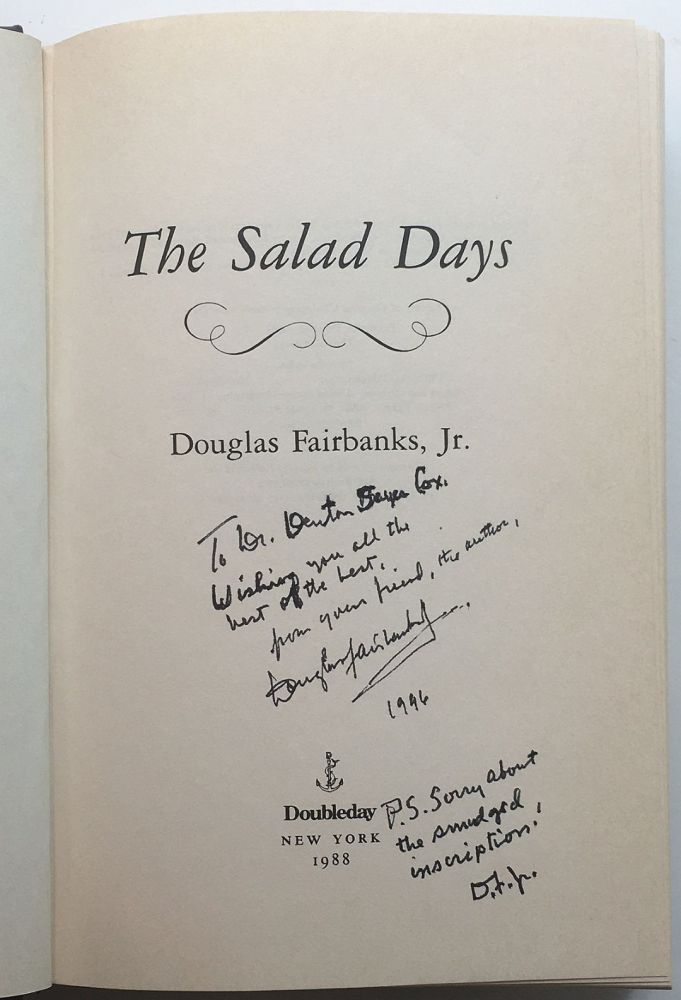 The Salad Days: An Autobiography. Douglas FAIRBANKS, Jr.