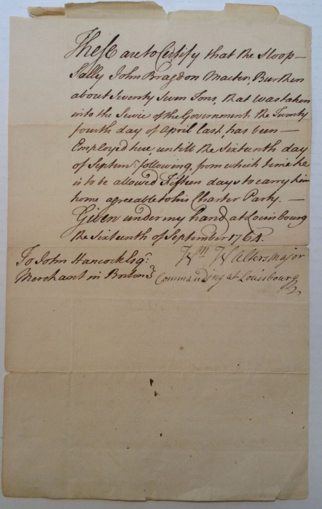 Manuscript Document Signed by the British Naval Commander. William WALTERS.