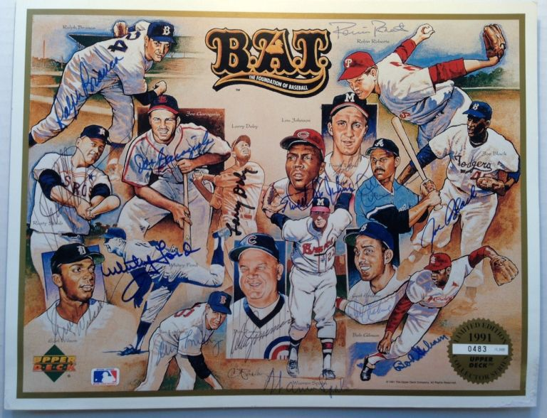 Signed Limited Edition Print. Whitey FORD, Bob, GIBSON, Warren, SPAHN.