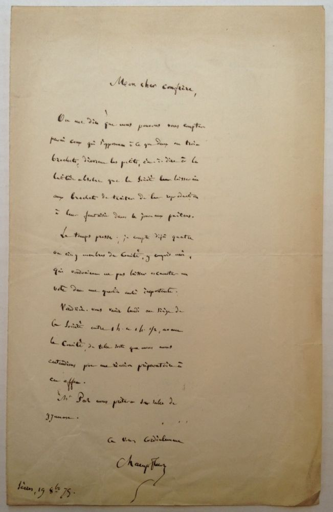 Autographed Letter Signed in French. CHAMPFLEURY, Jules Felix Fleury-Husson, 1820 - 1889.