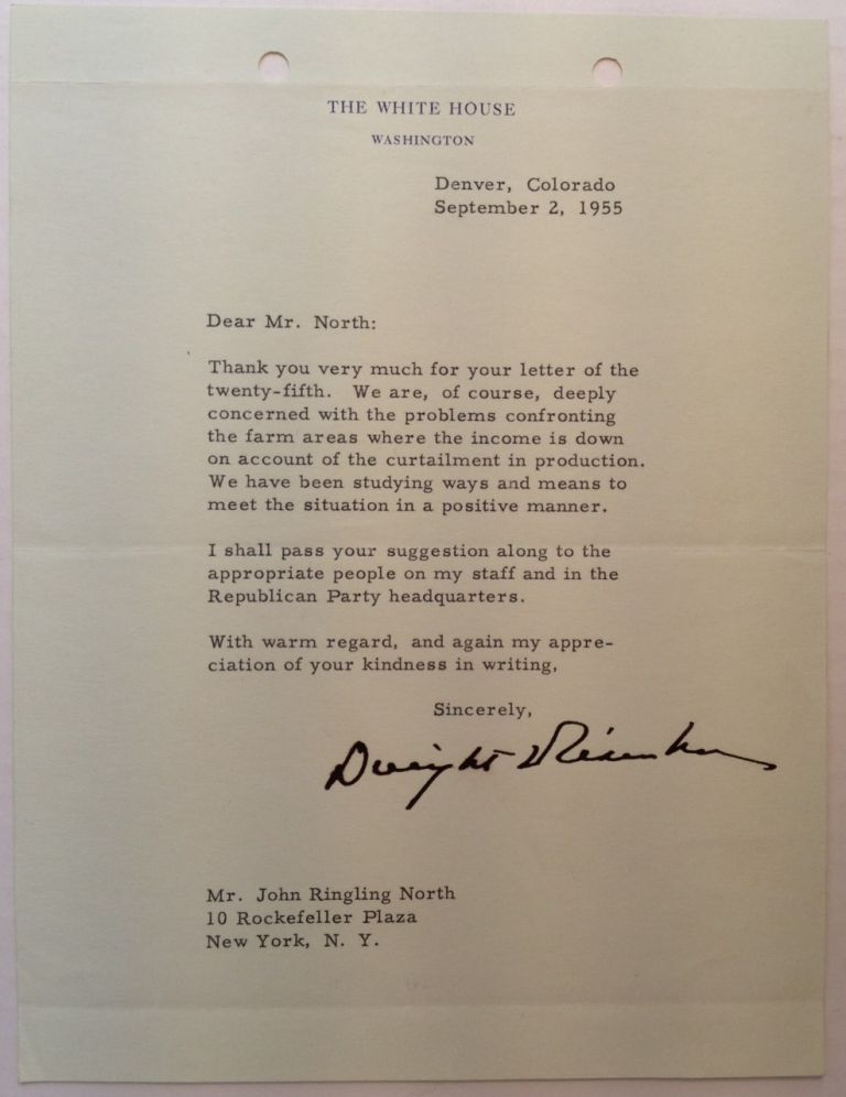 Typed Letter Signed to John Ringling North. Dwight D. EISENHOWER, 1890 - 1969.