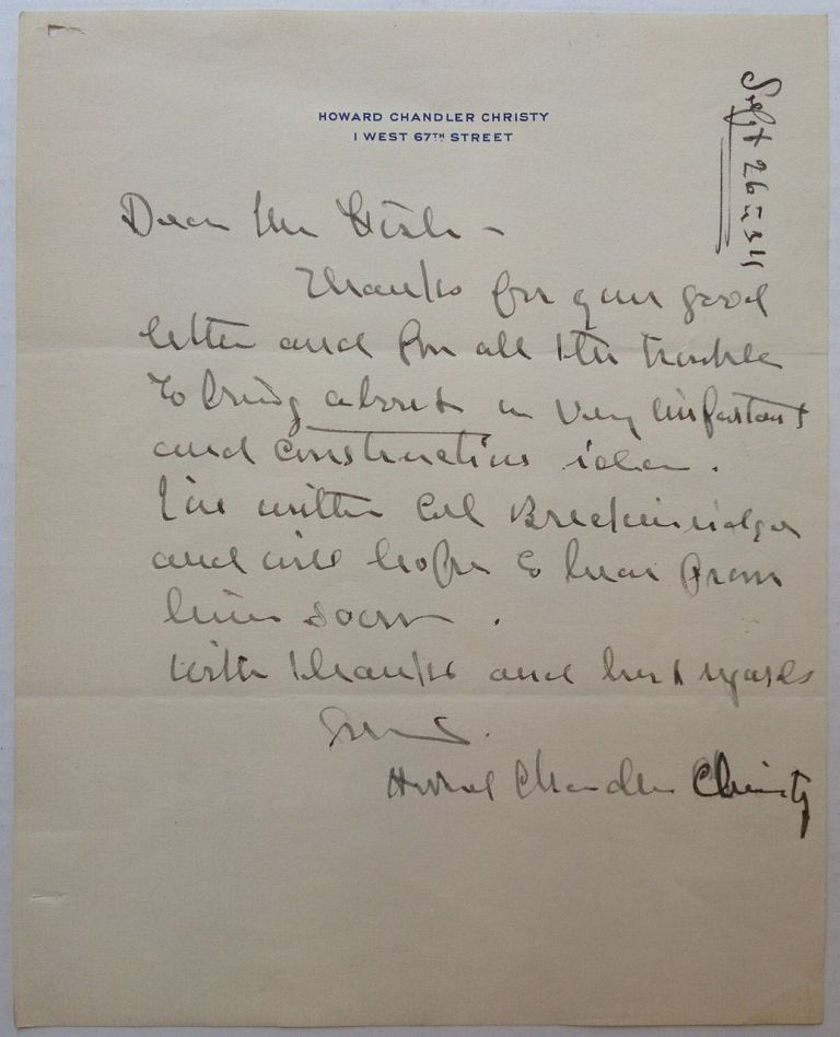 Autographed Letter Signed to Hamilton Fish. Howard Chandler CHRISTY, 1873 - 1952.
