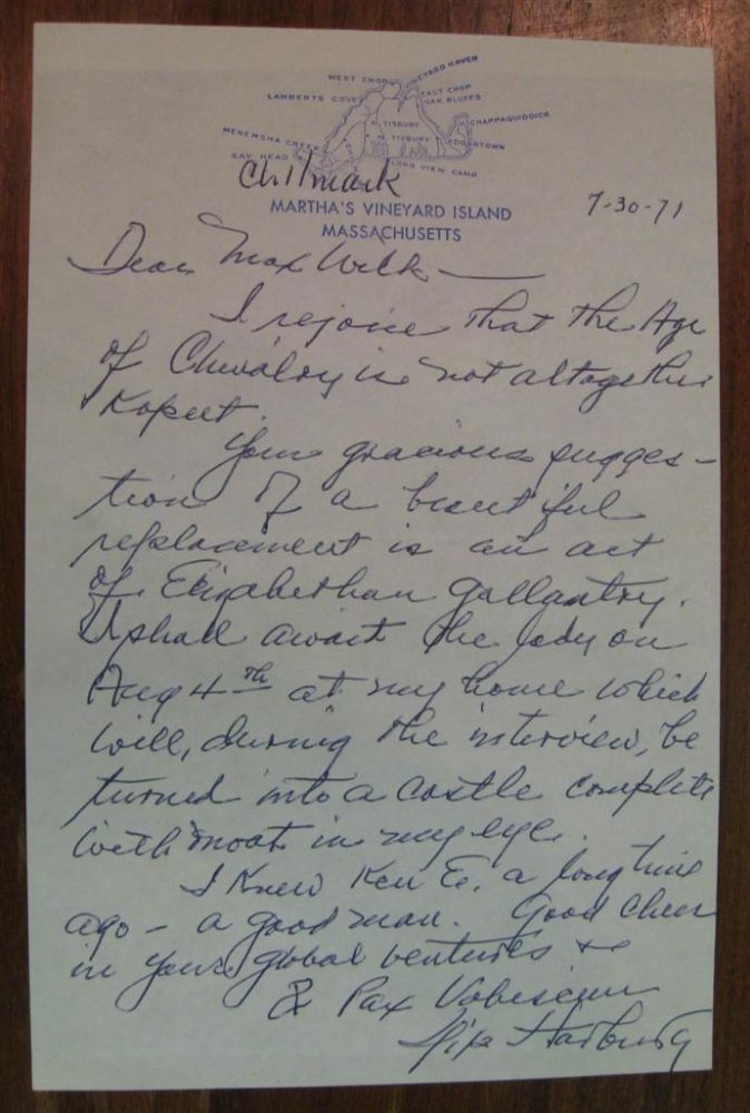 Autographed Letter Signed to author Max Wilk. Yip HARBURG, 1896 - 1981.