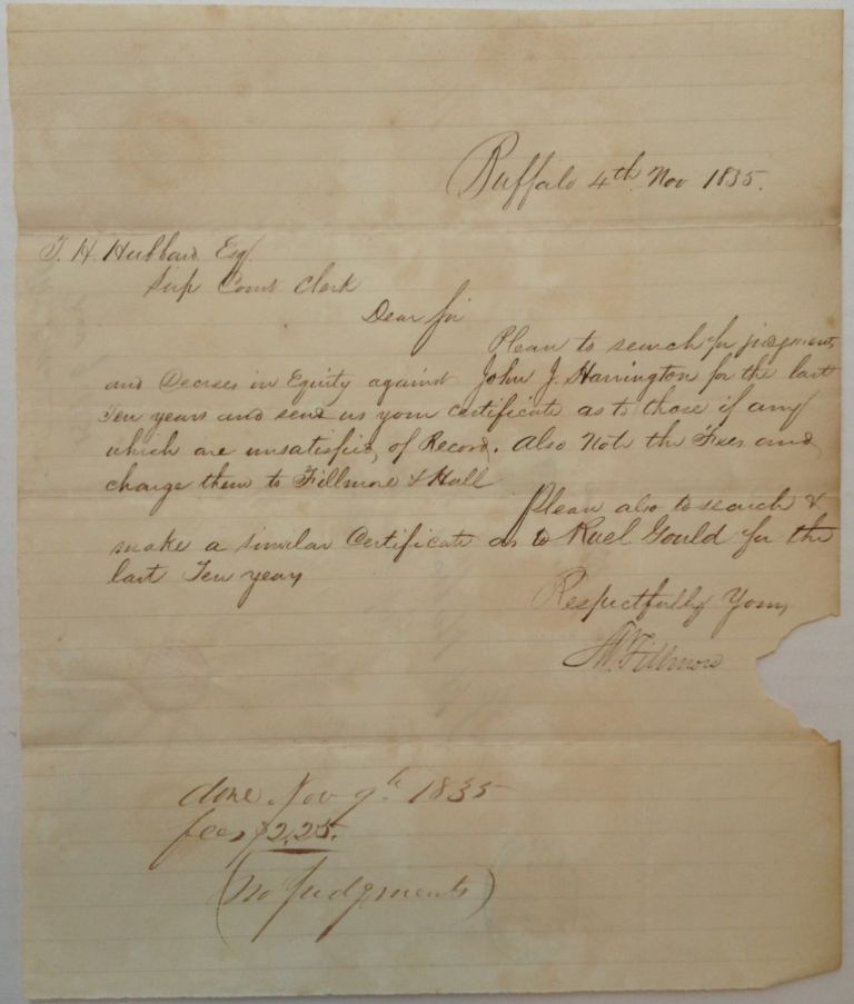 Autographed Letter Signed with a rare Free Frank. Millard FILLMORE, 1800 - 1874.