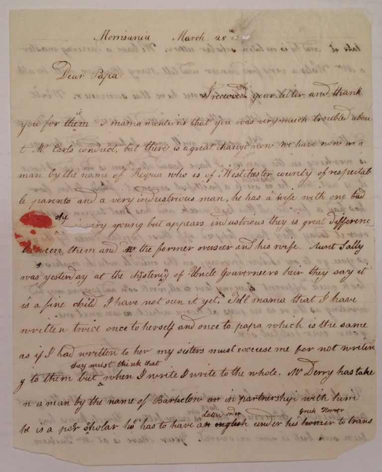 Autographed Letter Signed to his father. Richard MORRIS, 1765 - 1814.